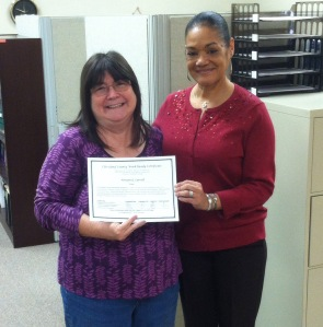 Congratulations to Gail Carroll for earning the Work-Ready Certificate. She is pictured with Donnis Jamie of the Division of Workforce Solutions, a partner with CCC in the Work-Ready Certificate Program.